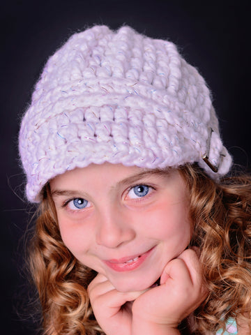 4T to Preteen Kids White Sparkle Buckle Beanie