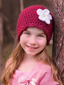 Red wine flapper beanie hat | 34 flower colors available