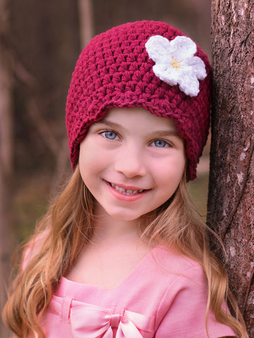 Red wine flapper beanie hat | 32 flower colors available by Two Seaside Babes