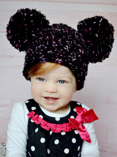 9 to 12 Month Black, Pink, & Black Pom Pom Hat by Two Seaside Babes