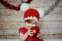 9 to 12 Month Baby Santa hat | Christmas hat | Red & White pom pom