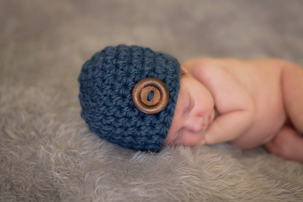 Denim blue button beanie baby hat