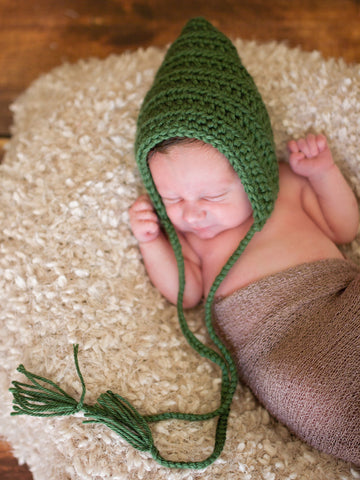 Sage Green Pixie Elf Baby Hat by Two Seaside Babes