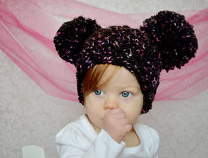 9 to 12 Month Black, Pink, & Black Pom Pom Hat