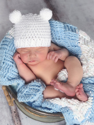 White mini pom pom hat - newborn, baby, toddler, child, adult sizes by Two Seaside Babes