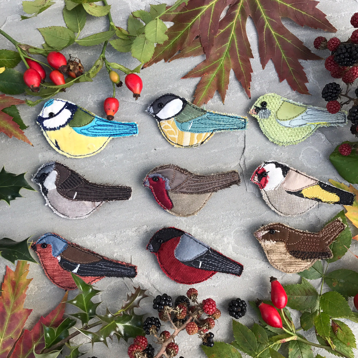 Fabric bird brooches