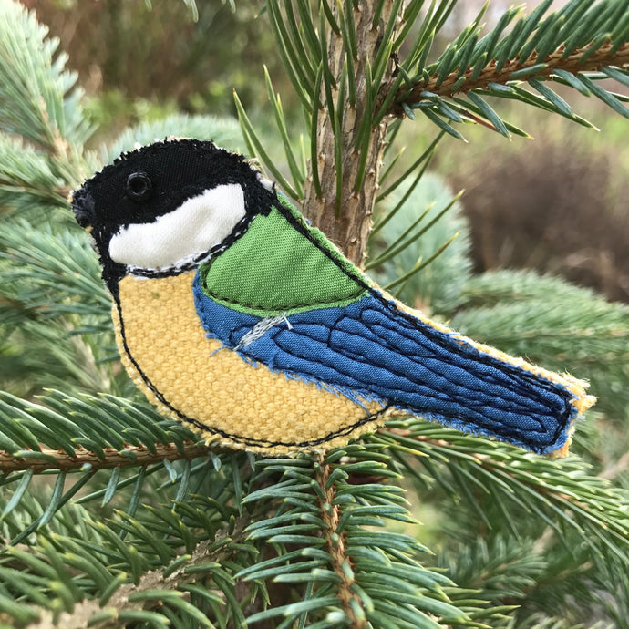 Fabric Great tit brooches