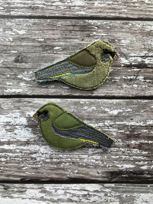 Fabric Greenfinch brooches