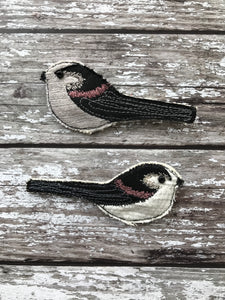 Fabric Long tailed tit brooch