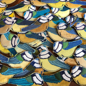Fabric Blue tit brooches