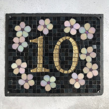 Mosaic house number with flowers