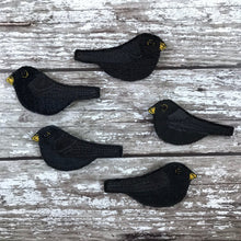 Fabric Blackbird brooch