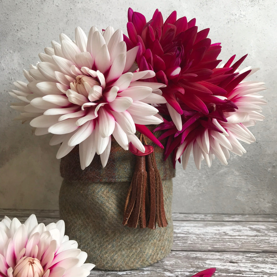 Fabric flower vases with leather tassel