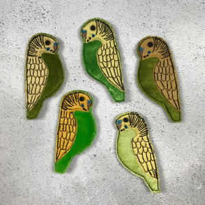 Fabric Budgie brooches