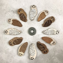 Fabric Barn owl brooch