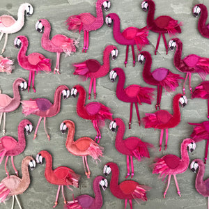 Fabric flamingo brooches