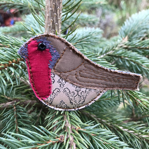 Fabric robin brooch