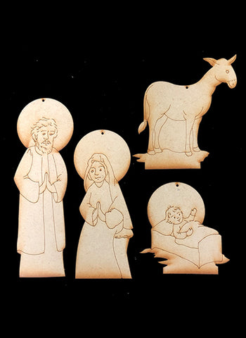 Nativity Ornaments -Collection 1 - Holy Family - Wood Only