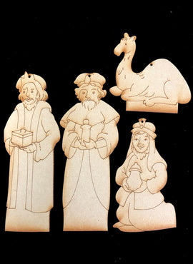 Nativity Ornaments - Collection Two - Three Wise Men & Camel - Wood ONLY