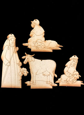 Nativity Ornaments - Collection Three - Shepherds & Cow - Wood only