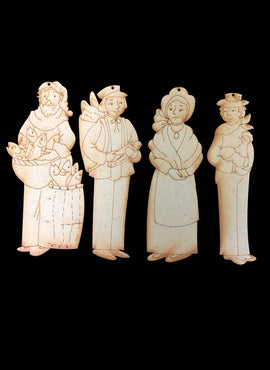 Nativity Ornaments - Collection Four - Village Folk 1 - Wood Only
