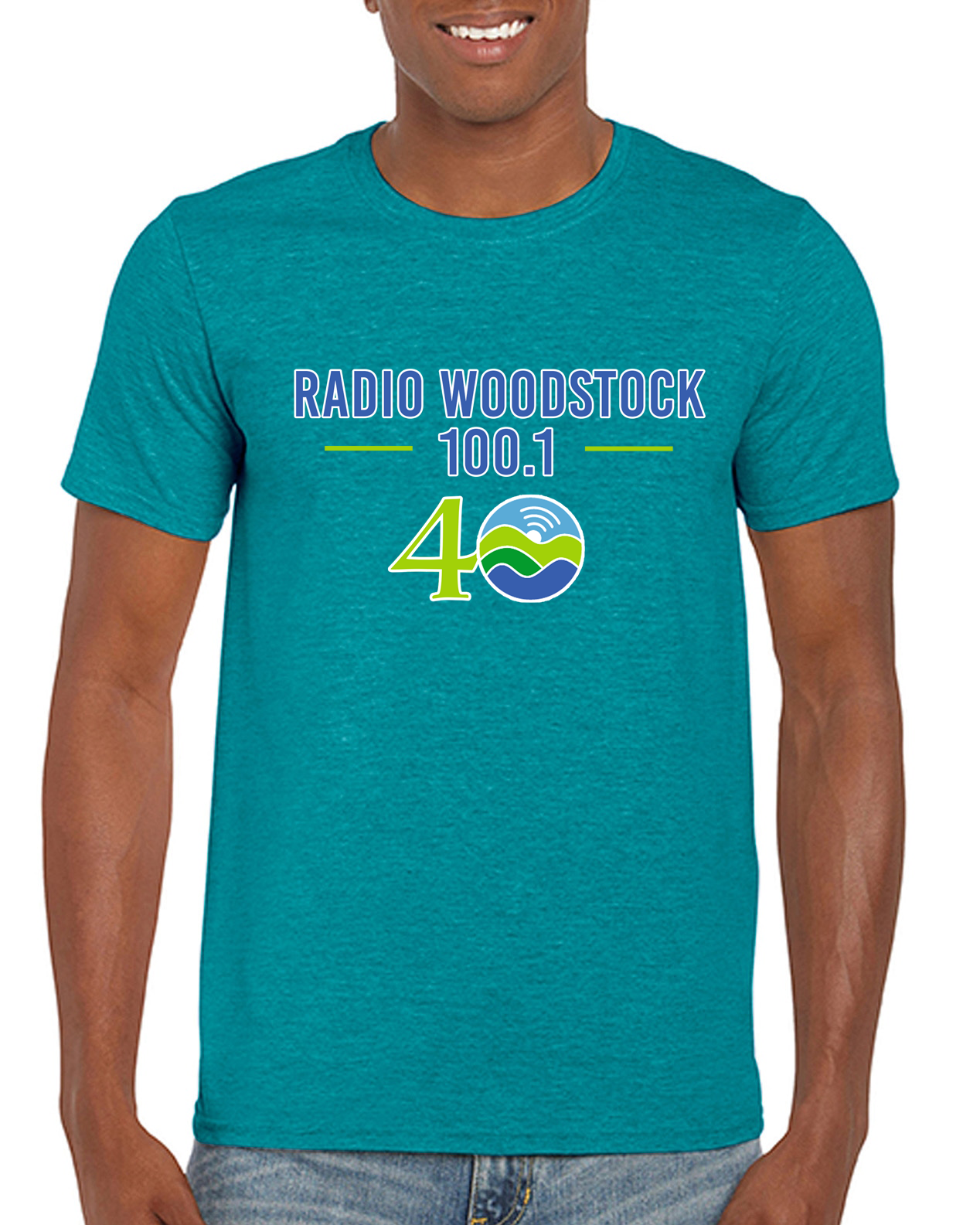 Radio Woodstock 40th Anniversary Tee - Heather Galapagos Blue *** Limited Edition***