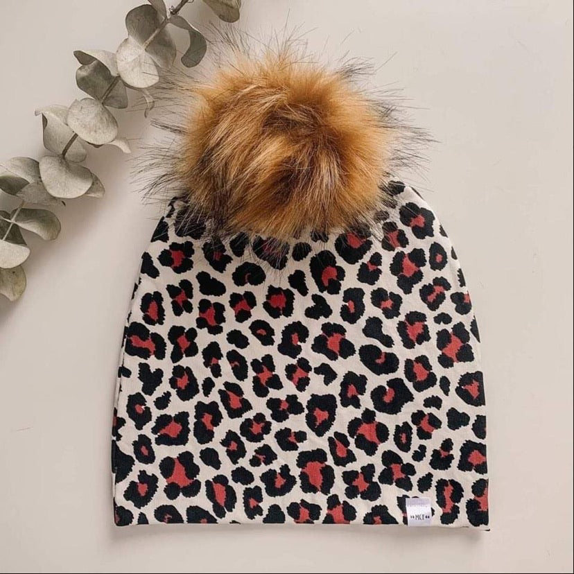 White with black and plum animal print Maplecrest Toque