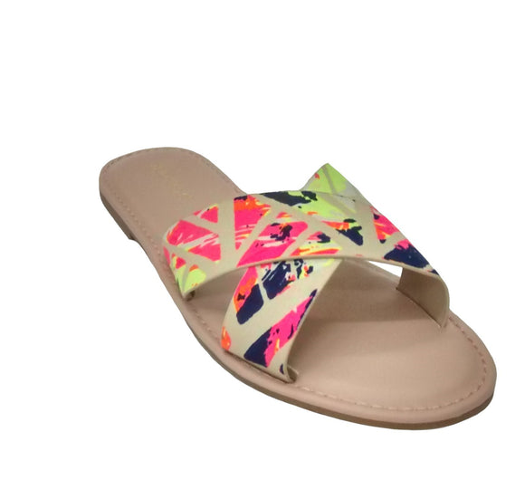 Bamboo Solid Floral Print Women's Open Toe Flat Slide Slipper Sandals