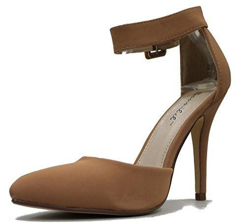 Bonnibel Women Mavis d'Orsay Pointy Toe Adjustable Ankle Strap High Heel Sandal Shoes