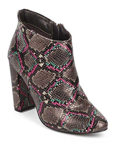 Breckelles DE07 Women Snakeskin Almond Toe Block Heel Tailored Ankle Bootie