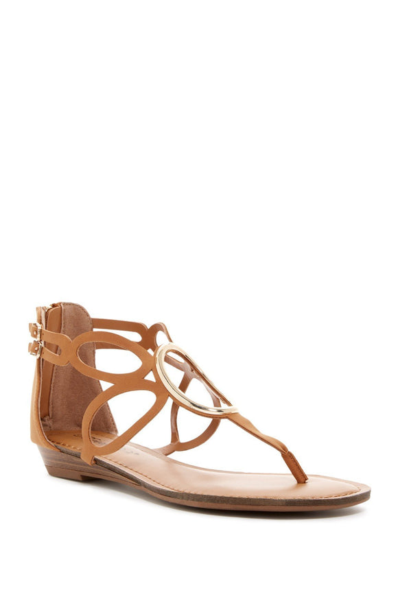 Breckelles Leatherette T-Strap O-Ring Cut Out Closed Heel Flat Sandals