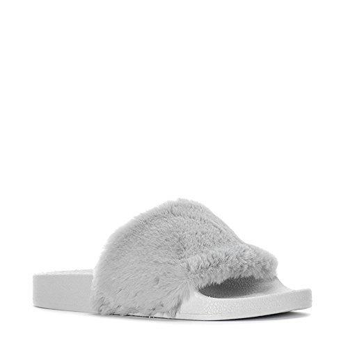 JD Women Open Toe Fuzzy Furry Faux Fur Rubber Soles Platform Flip Flop Slip-On Sandals