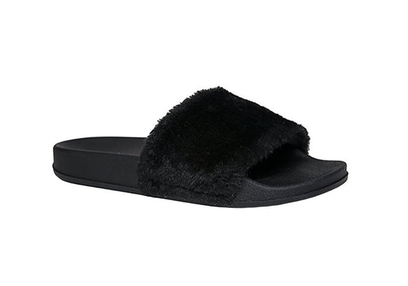 JeffreyD Jeffrey D Women's Fuzzy Open Toe Furry Faux Fur Rubber Soles Flip Flop Platform Slip-On Shoe Sandals