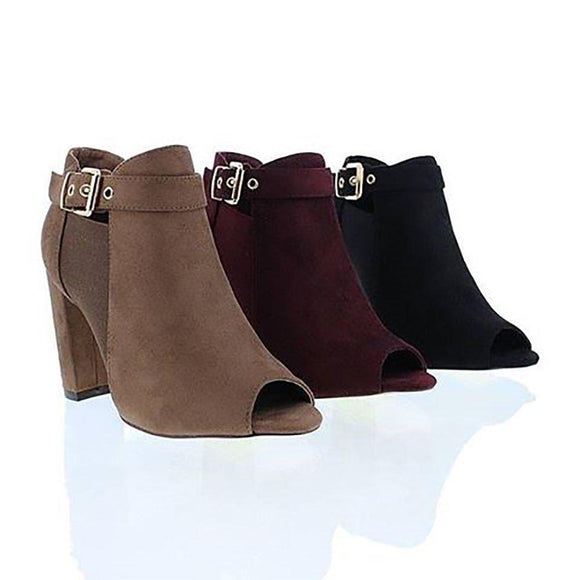 Liliana Melinsa Women's Peep Toe Stacked Chunky Heel Ankle Booties