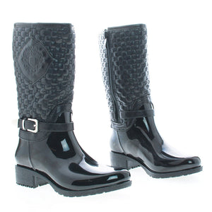 Link Cody Children's Girl Mid Calf Zip Up Quilted Emblem Shaft Rain Boots