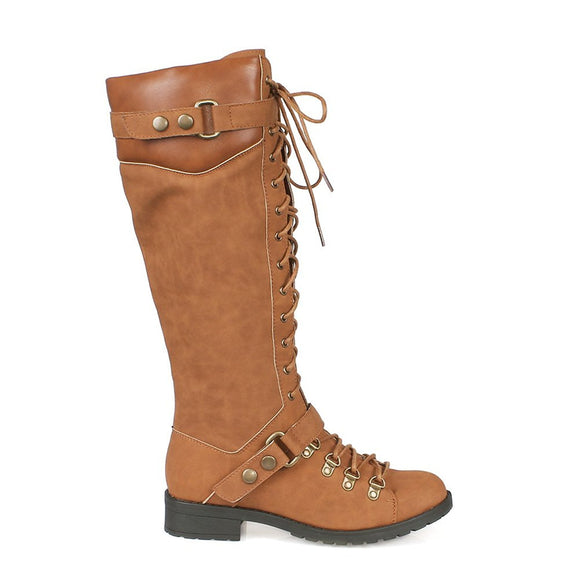 Mark and Maddux Travis22 Lace Up Women's Military Boots in Camel