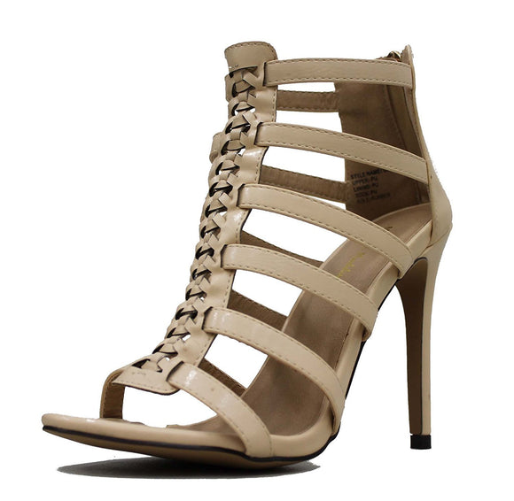 Mark and Maddux Women's Oscar Back Zipper Heeled Gladiator Inspired Open Toe Shoe Sandals