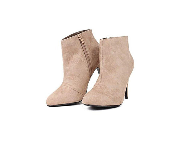 MyDelicious Women's Delicious Busy Faux Suede Almond Toe Stiletto Heel Ankle Bootie
