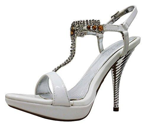 Qupid Women's Luxe Spin Ankle Strap Glittery Stiletto Dress Sandal Shoes