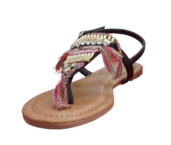 Top Moda Women Thong Gladiator Slingback Beaded Sandals