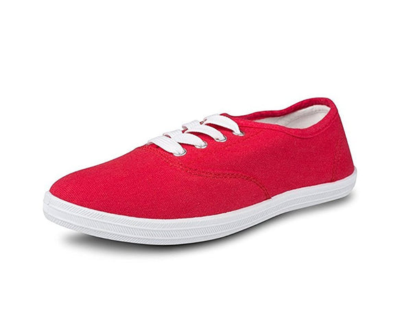 Women's Lace Up Canvas Casual Basic Athletic Shoe Sneakers (7, Red)