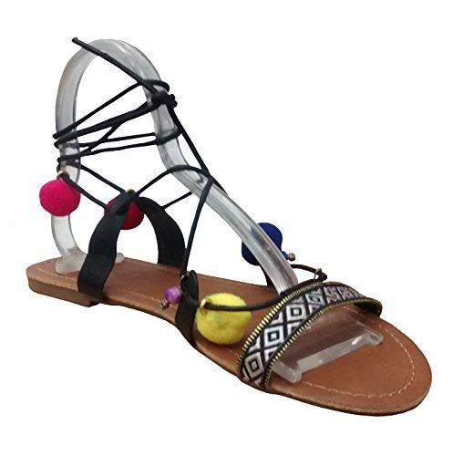 Women's Posh Toe Ring Pom Pom Embellished Ankle Wrap Tribal Roman Sandals
