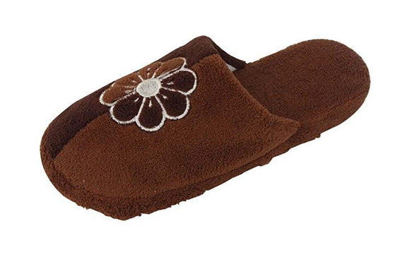 Women's Soft Fleece Multicolor Casual Cozy Slide Slipper Slip-On Sandals with Flower