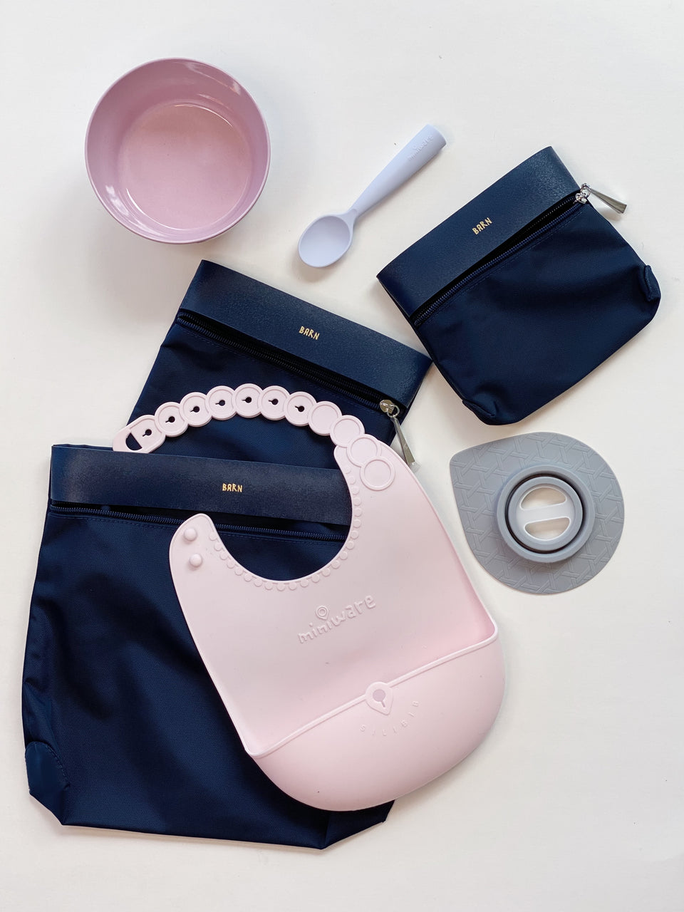 Go Baby - Silicone Bib, First Bites & Navy Resa Bags Bundle Set