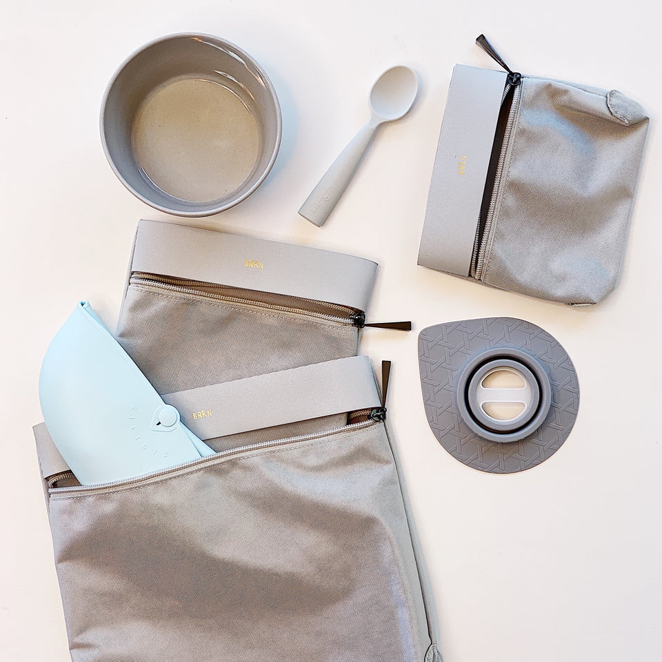 Go Baby - Silicone Bib, First Bites & Grey Resa Bags Bundle Set