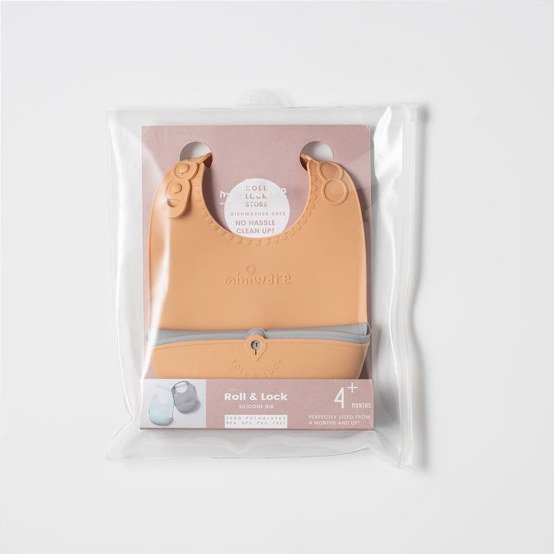 Roll & Lock bib Toffee + Dove Grey