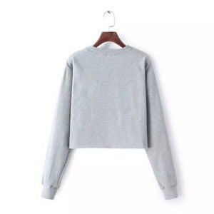 Alien Cropped Women Sweater - Discovering Heart
