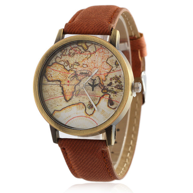 Travel Denim Fabric Wristwatch - Discovering Heart