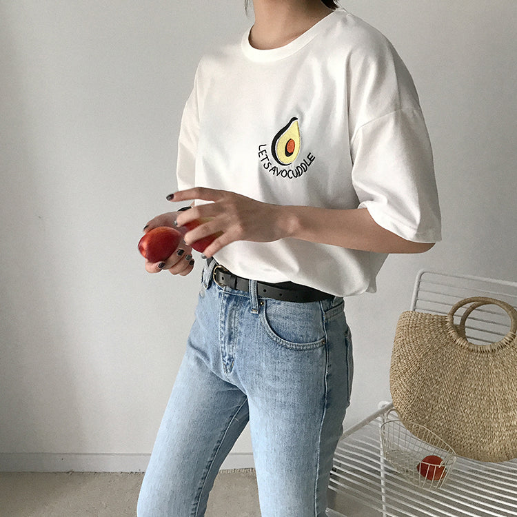 Lets Avocuddle Embroidery Shirt Women - Discovering Heart