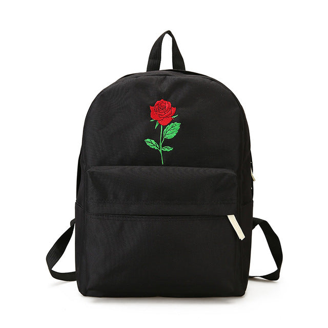 Embroidery Canvas Backpack - Discovering Heart